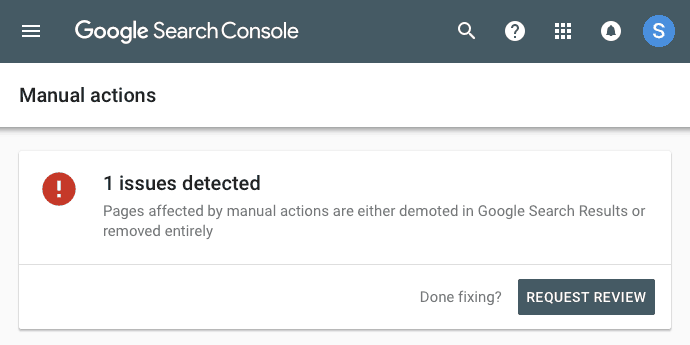 Google Search Console security warning