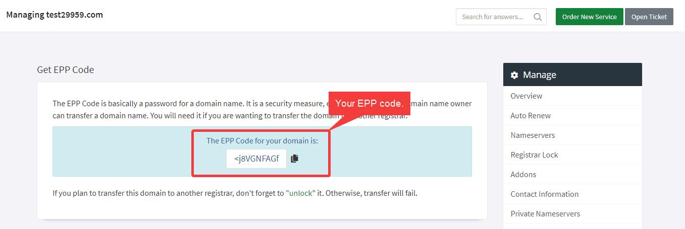 Domain EPP code