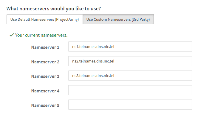 .TEL Domains Nameservers